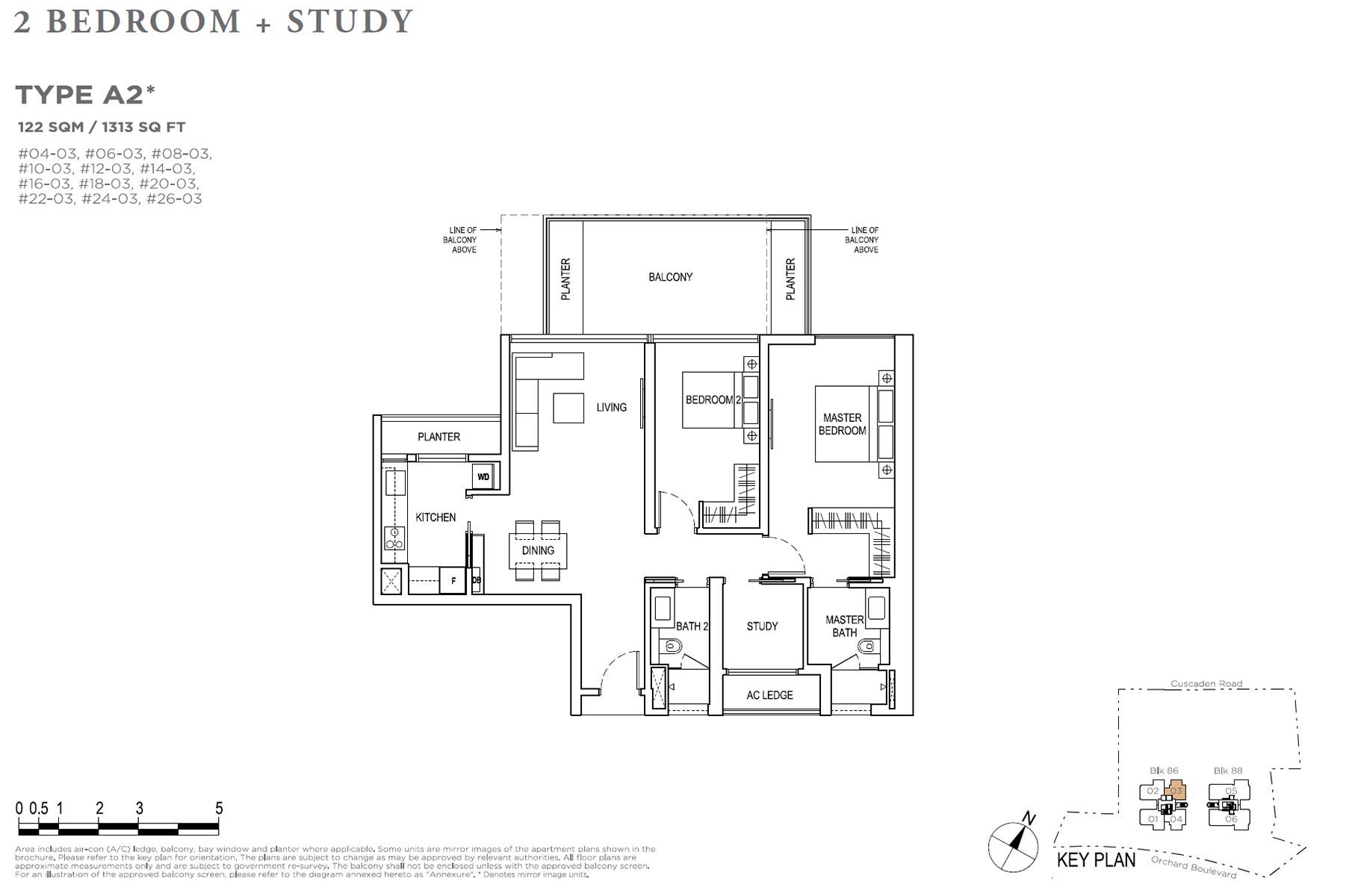 Boulevard 88 2 Bedroom + Study - Type A2