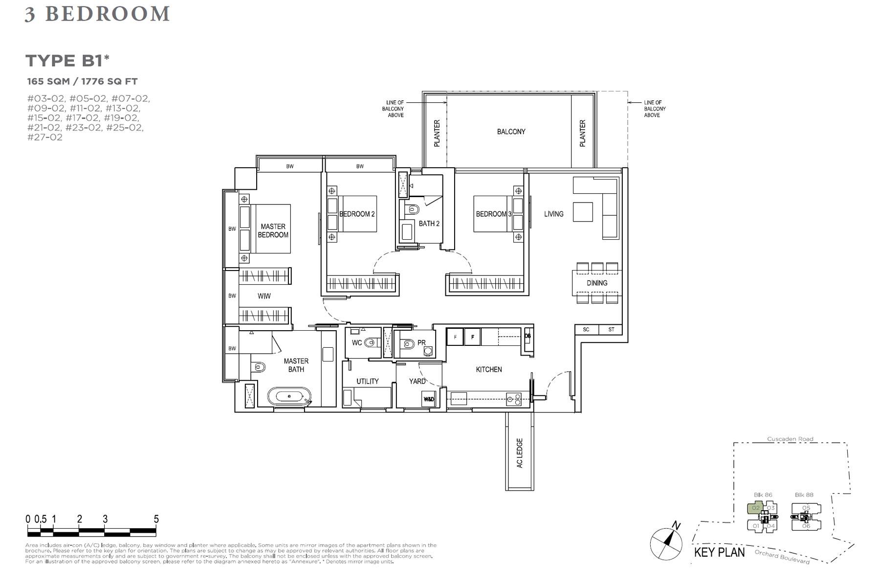 Boulevard 88 3 Bedroom + Study - Type B1